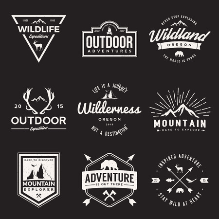 eagle badge: vector set of wilderness and nature exploration vintage  logos, emblems, silhouettes and design elements. outdoor activity symbols with grunge textures