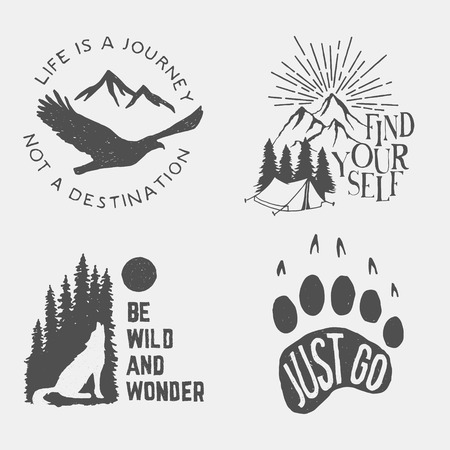 illustration journey: set of wilderness hand drawn typography posters, emblems and quotes. artworks for hipster wear. vector Inspirational illustration