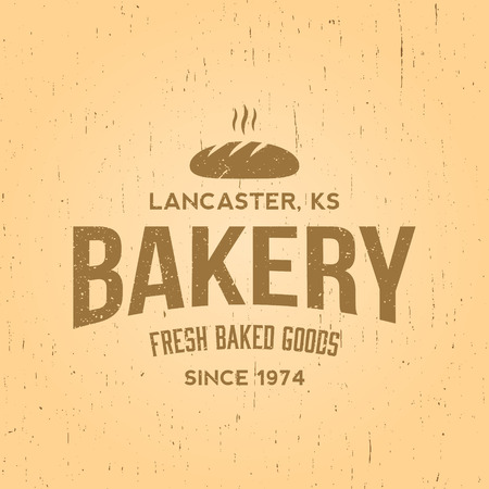 traditional goods: bakery label on yellow grunge background Illustration