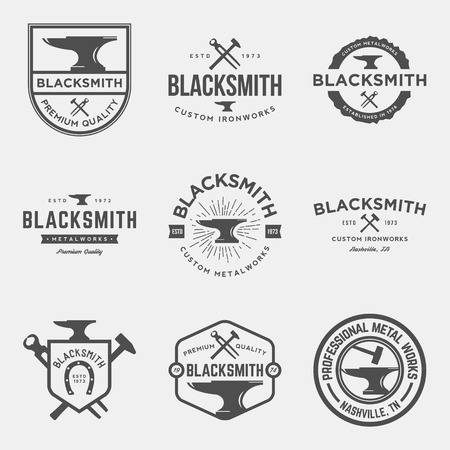 cast iron: vector set of blacksmith vintage logos, emblems and design elements