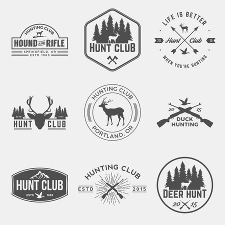 cazador: vector conjunto de etiquetas del club de caza, escudos y elementos de diseño