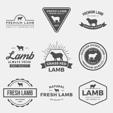 Carnicería: vector conjunto de etiquetas de cordero de alta calidad, insignias y elementos de diseño