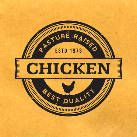 premium chicken meat label with grunge texture on old paper background