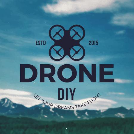 diy drone emblem on mountain landscape background 向量圖像