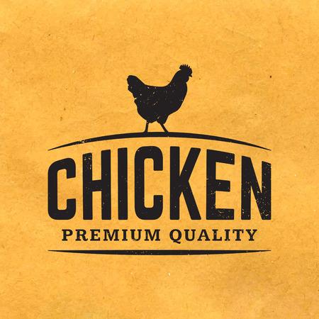 pollo: etiqueta premium carne de pollo con la textura del grunge en el fondo de papel viejo