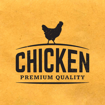 chickens: premium chicken meat label with grunge texture on old paper background