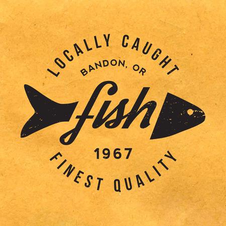 Etichetta pesce fresco con texture grunge su sfondo vecchia carta Archivio Fotografico - 42863237