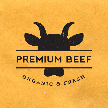 organic farming: premium beef label with grunge texture on old paper background Illustration