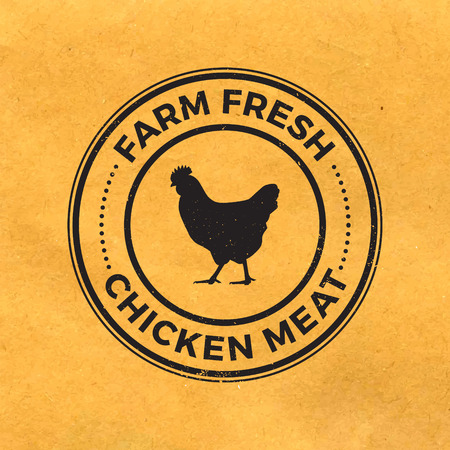 chicken: premium chicken meat label with grunge texture on old paper background