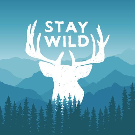 venado: mano dibujada desierto poster de la tipograf�a con los ciervos y pinos. Mantente salvaje. obra para el desgaste inconformista. ilustraci�n vectorial inspirada en el fondo de la monta�a