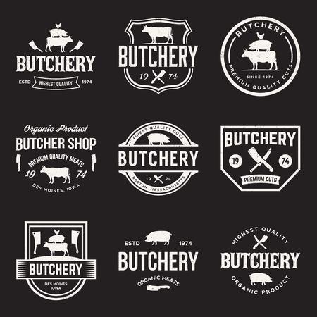 carniceria: vector conjunto de etiquetas de carnicería, escudos y elementos de diseño con texturas grunge