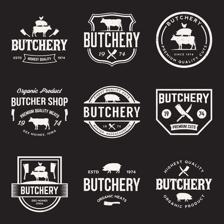 butchery: vector set of butchery labels, badges and design elements with grunge textures