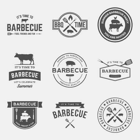 cerdos: vector conjunto de etiquetas para parrillas, insignias y elementos de dise�o