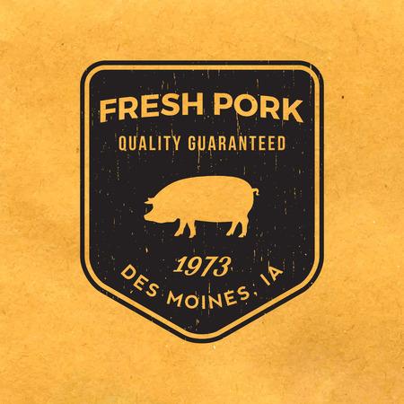 premium pork label with grunge texture on old paper background Illustration