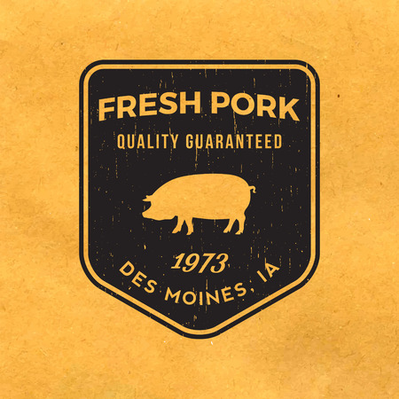 pork: premium pork label with grunge texture on old paper background Illustration