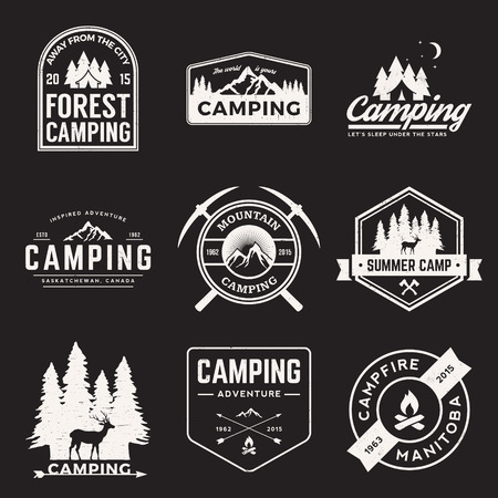 outdoors: vector set of camping and outdoor adventure vintage logos, emblems, silhouettes and design elements with grunge textures Illustration