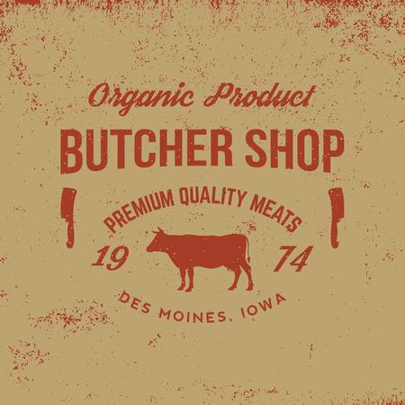 carniceria: etiqueta de la carnicería en el fondo del grunge Vectores