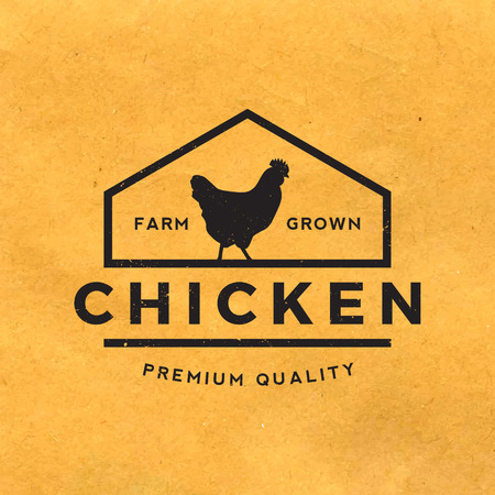 chicken meat: premium chicken meat label with grunge texture on old paper background