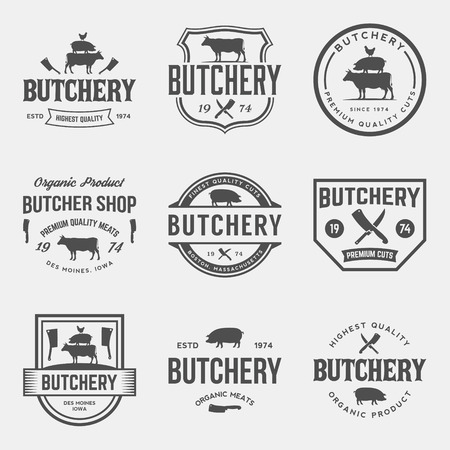 Carnicería: vector conjunto de etiquetas de carnicería, escudos y elementos de diseño