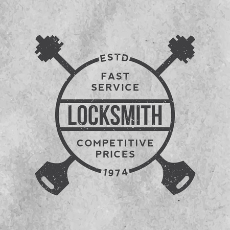 locksmith: locksmith label with grunge texture on old paper background