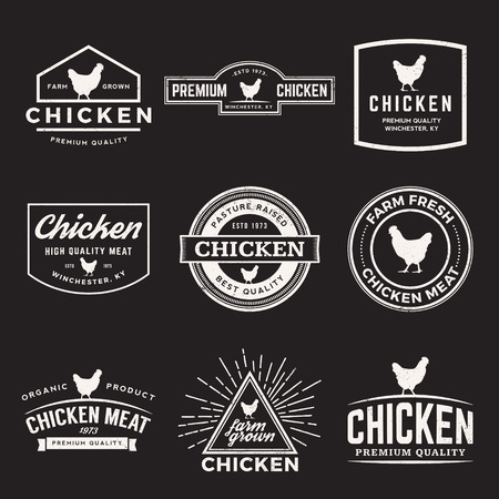 vector set of premium chicken meat labels, badges and design elements with grunge textures