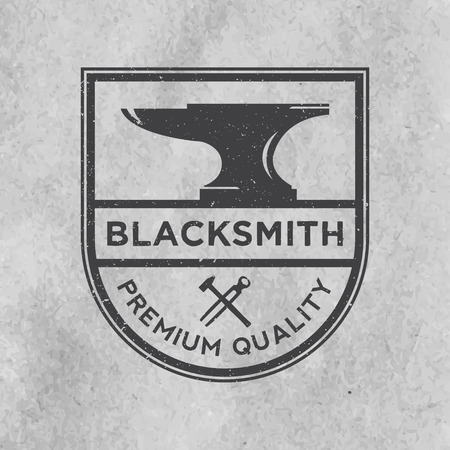 blacksmith emblem with grunge texture on old paper background