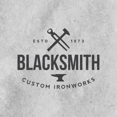 cast iron: blacksmith emblem with grunge texture on old paper background
