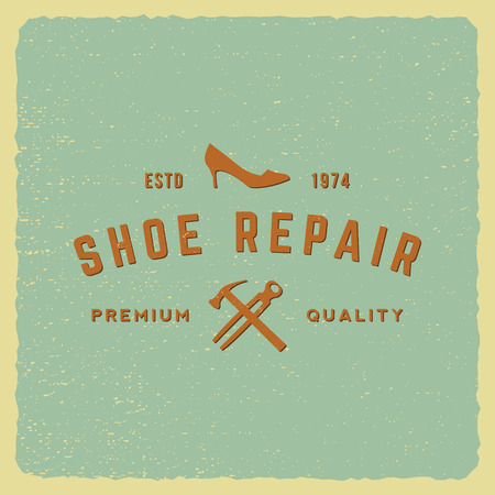 shoe repair label on grunge background 向量圖像