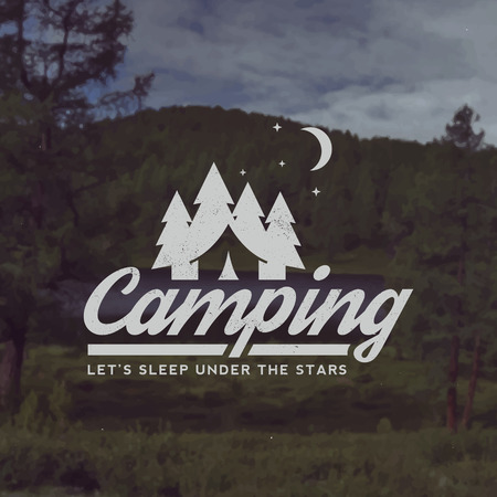 adventures: vector camping emblem. outdoor activity symbol with grunge texture on mountain landscape background Illustration