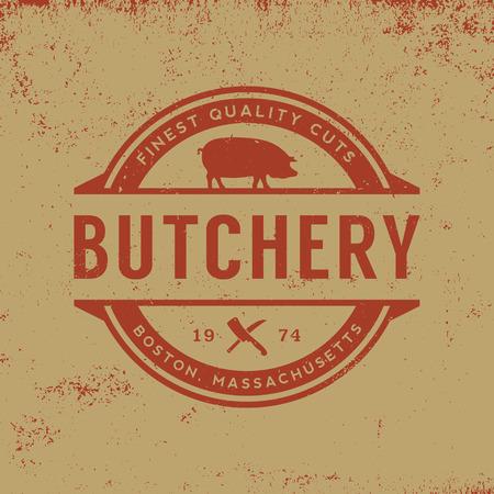 butchery label on grunge background  イラスト・ベクター素材