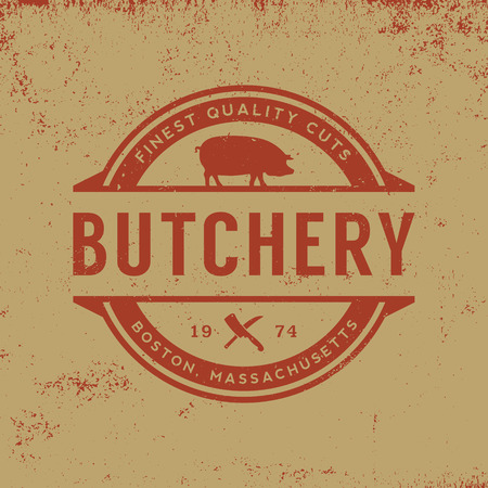 butchery label on grunge background Ilustracja