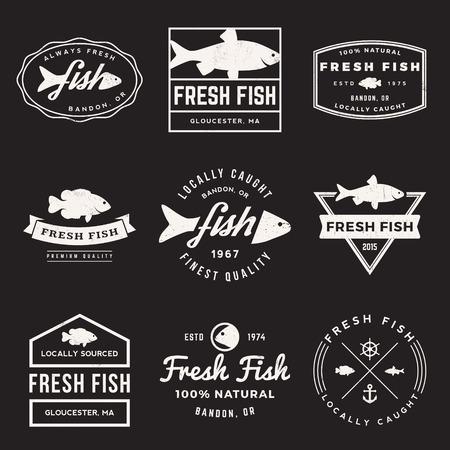 新鮮な魚のラベル、バッジ、グランジ テクスチャをデザイン要素のベクトルを設定