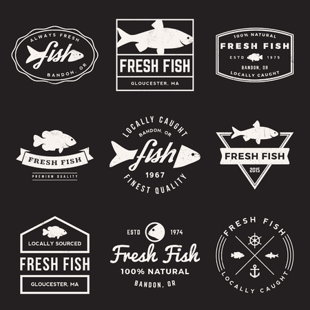 fresh seafood: vector set of fresh fish labels, badges and design elements with grunge texture