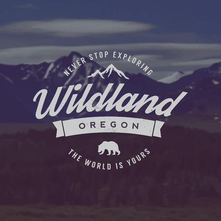vector wildland emblem. outdoor activity symbol with grunge texture on mountain landscape background