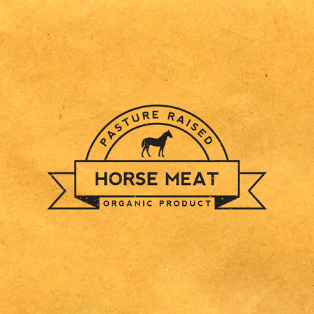 premium horse meat label with grunge texture on old paper background