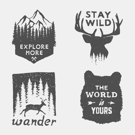 mountain: set of wilderness hand drawn typography posters, emblems and quotes. artworks for hipster wear. vector Inspirational illustration