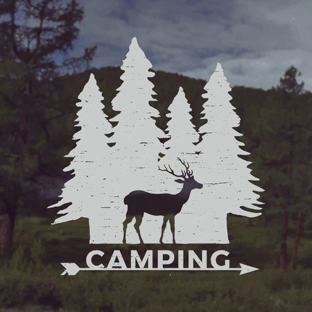 grunge tree: vector camping emblem. outdoor activity symbol with grunge texture on mountain landscape background Illustration