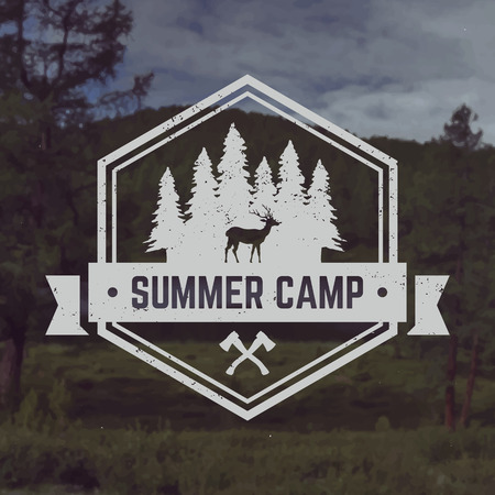camp: vector camping emblem. outdoor activity symbol with grunge texture on mountain landscape background Illustration