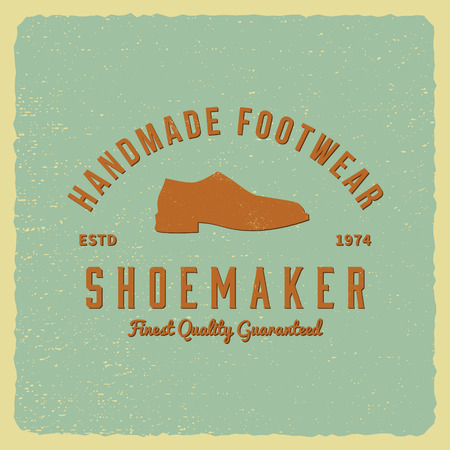 cobbler: shoemaker label on grunge background Illustration