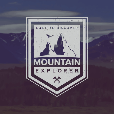 vector mountain exploration emblem. outdoor activity symbol with grunge texture on mountain landscape background 向量圖像