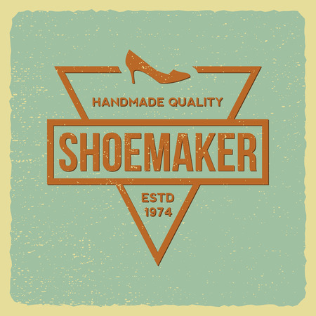 shoe repair: shoemaker label on grunge background Illustration