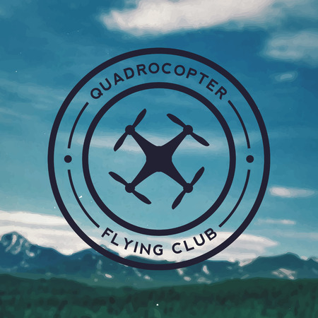 quadrocopter flying club emblem on mountain landscape background 向量圖像