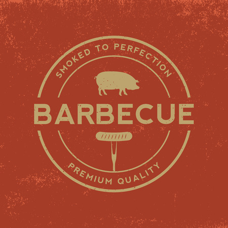 barbecue badge on red  grunge background 向量圖像