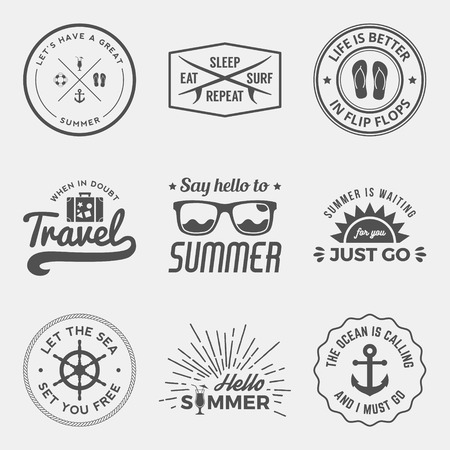 vector set of summer quotes, emblems and design elements