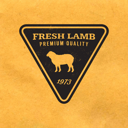 premium lamb label with grunge texture on old paper background