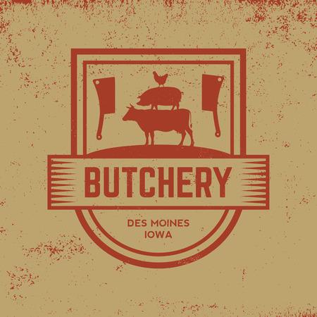 butchery label on grunge background 向量圖像