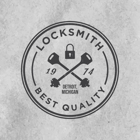 locksmith label with grunge texture on old paper background