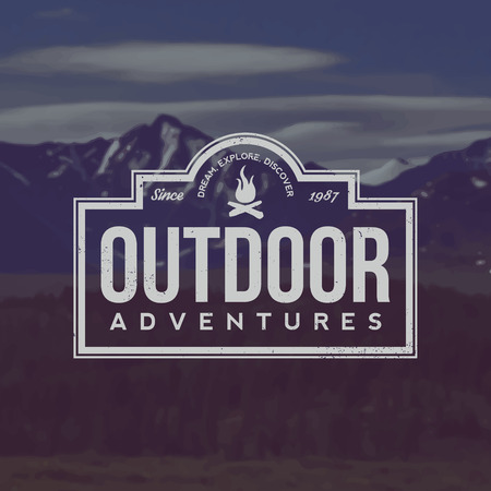 vector outdoor adventures emblem. outdoor activity symbol with grunge texture on mountain landscape background