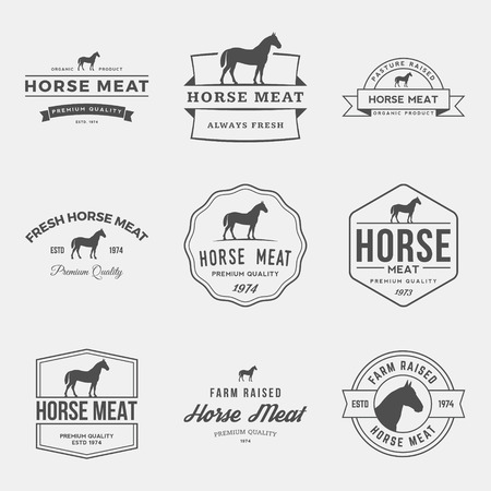 vector set of premium horse meat labels, badges and design elements