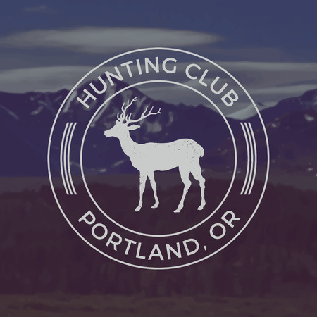 vector hunting club emblem with grunge texture on mountain landscape background 向量圖像